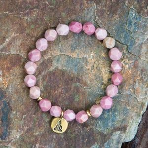 Handmade Rhodonite Bead Bracelet Buddha charm